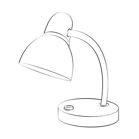 lamp shade: Black outline vector lamp on white background. Illustration