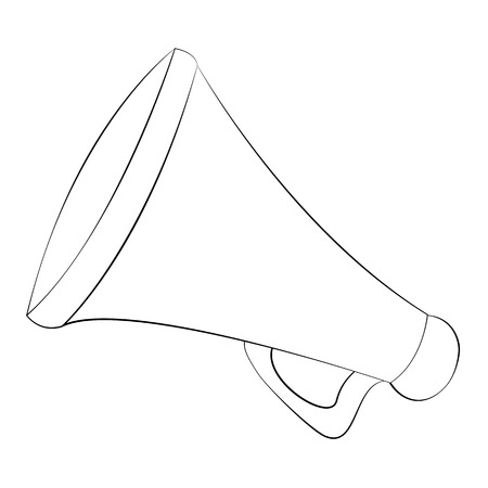 amplify: Black outline vector megaphone on white background. Illustration