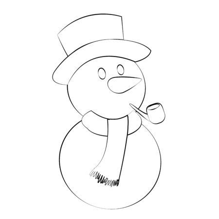 Black outline vector Snow man on white background.