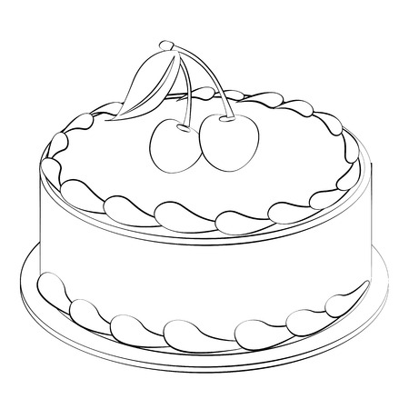 Black outline vector Cake on white background. Vector