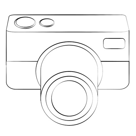 digicam: Black outline vector camera on white background.