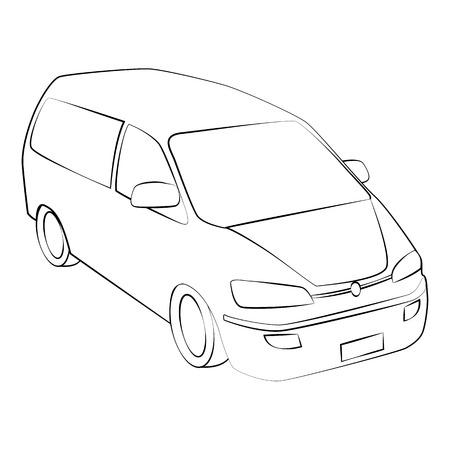 black outline vector car on white background. Illustration