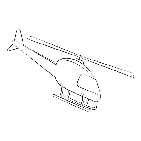 supersonic plane: Black outline vector helicopterl on white background.