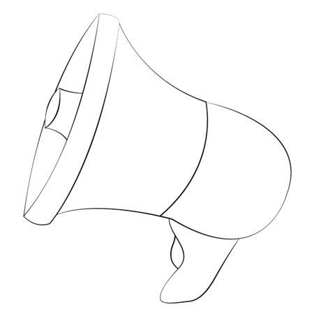 amplify: Black outline vector megaphone on white background. Illustration