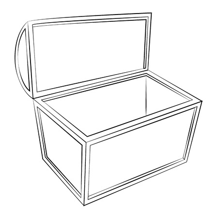 Black outline vector Treasure chest on white background.
