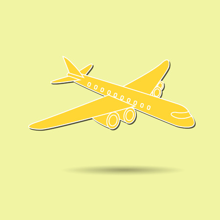Vector illustration of airplane against color background.