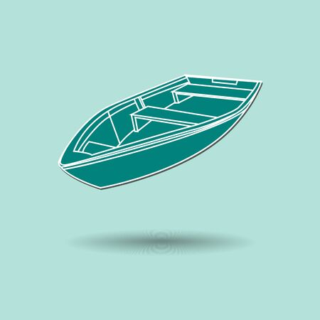 Vector illustration of  box boat color background. Vector