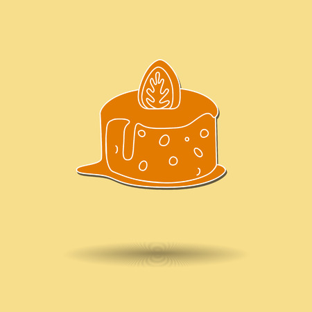 Vector illustration of cake against color background. Vector