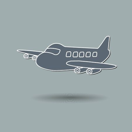 Vector illustration of airplane against color background. Vector