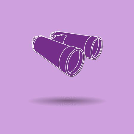 Vector illustration of  box binoculars color background. Vector
