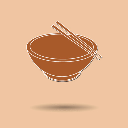 Vector illustration of  box bowl and chopsticks color background.