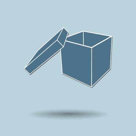 Vector illustration of  box against color background. Illustration