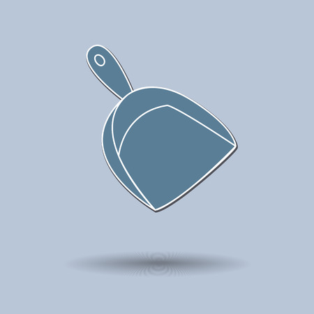 dustpan: Vector illustration of  box broom & dustpan color background.