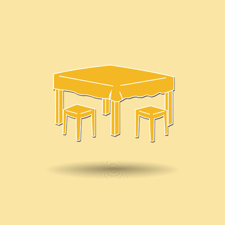 Vector illustration of  Dining table color background. Vector