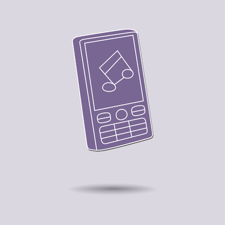 touch sensitive: Vector illustration of  Mobile Phone color background.