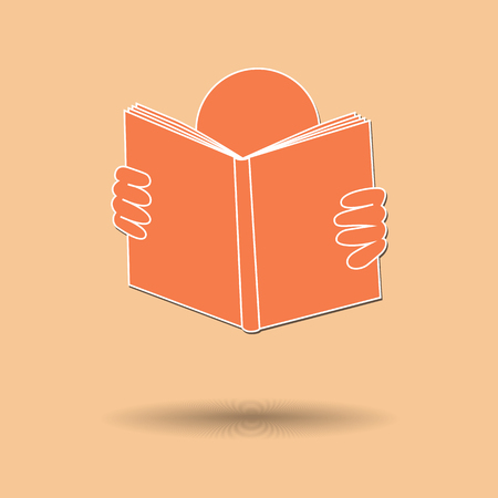 person reading: Vector illustration of  Person Reading Book color background.