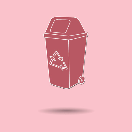 disposed: Vector illustration of  Recycle Bin color background.