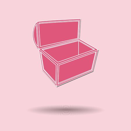 Vector illustration of  Treasure chest color background. Vector