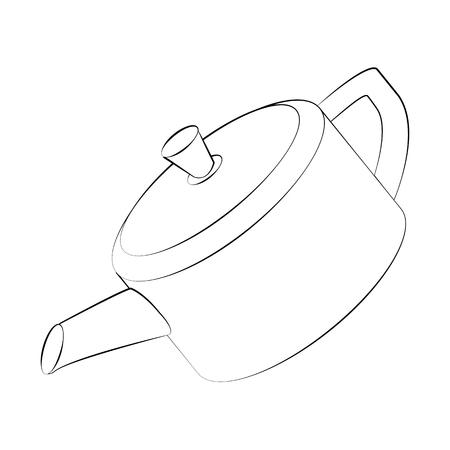 reverberation: Black outline vector kettle on white background.