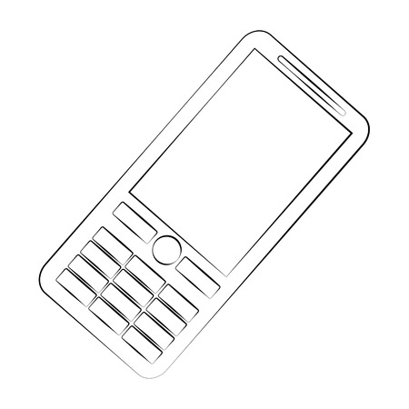 touch sensitive: Black outline vector mobile phone on white background. Illustration