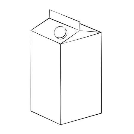 envase de leche: Negro esquema leche vector de cartón en el fondo blanco.