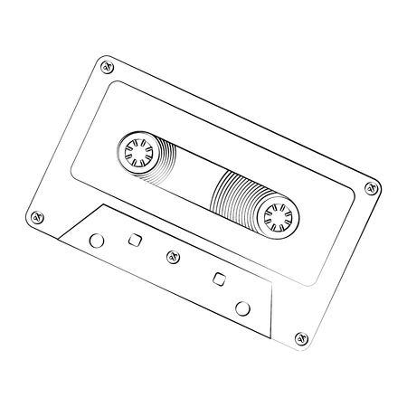 casette: Black outline vector cassette on white background.