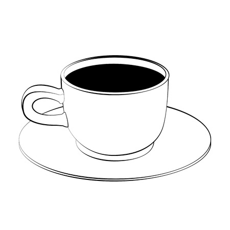 black coffee: Black outline vector coffee cup on white background.