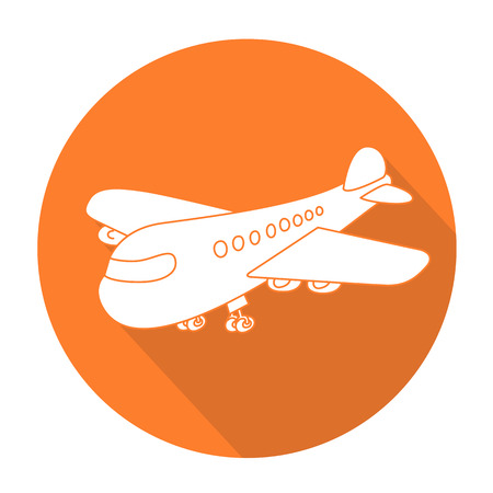 commercial painting: White vector airplane on color circle background.