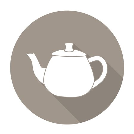 White vector Kettle on color circle background.