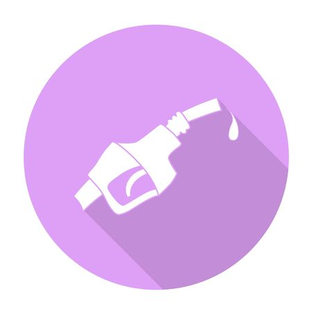 nozzle: White vector Fuel dispenser nozzle on color circle background.