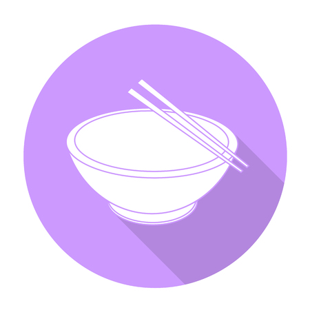 cantonese: White vector bowl and chopsticks on color circle background.