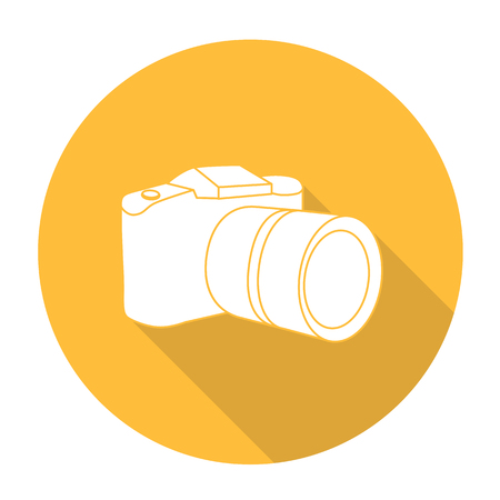 White vector camera on color circle background.