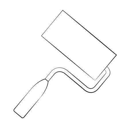 platen: Black outline vector paint roller on white background.