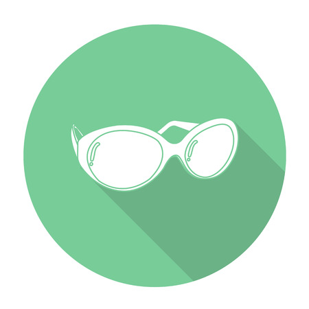 opthalmology: White vector glasses on color circle background.