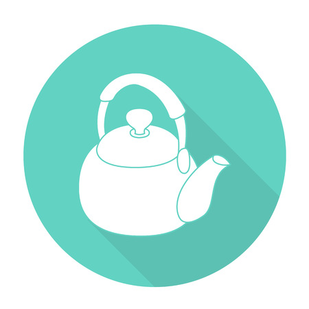 reverberation: White vector Kettle on color circle background.