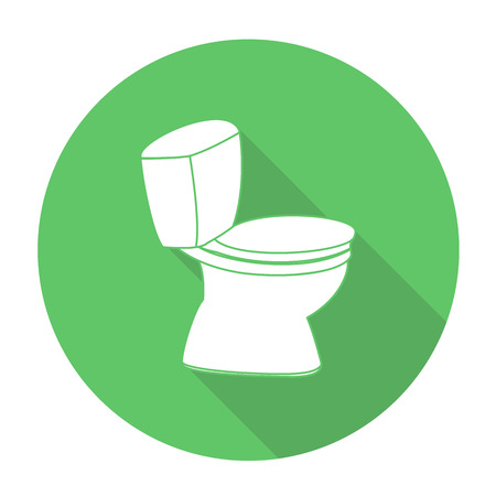 public waste: White vector flush toilet on color circle background.