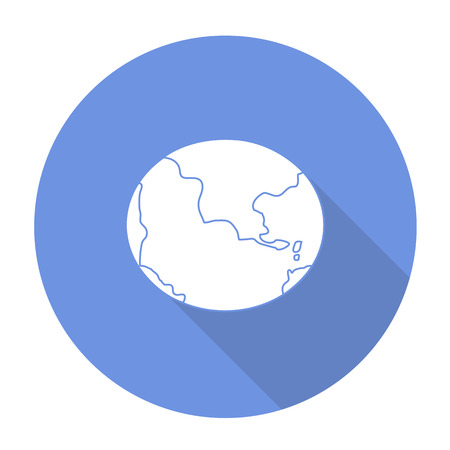meridian: White vector globe on color circle background.