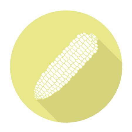produce energy: White vector corn on color circle background.