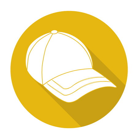 sported: White vector cap on color circle background. Illustration