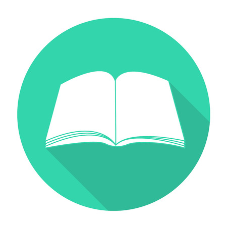 open book: Libro blanco del vector en el c�rculo de color de fondo.