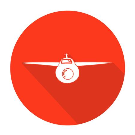 avion caricatura: Blanca vectorial avi�n en c�rculo color de fondo.