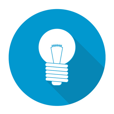 sconce: White vector light bulb on color circle background. Illustration