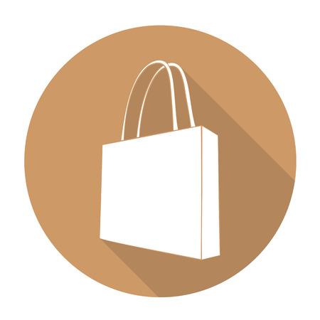 fashion illustration: White vector bag on color circle background. Illustration
