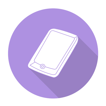 touch sensitive: White vector mobile phone on color circle background.