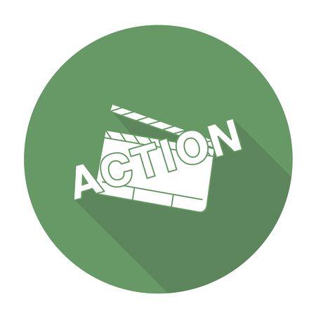 film slate: White vector slate film on color circle background. Illustration