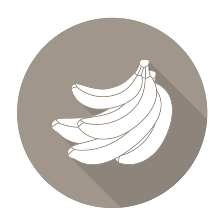 potassium: White vector banana on color circle background.