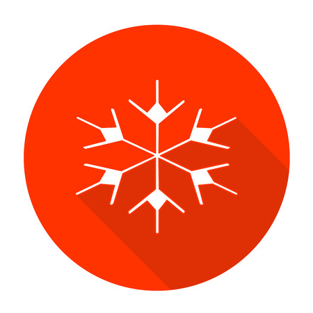 festal: White vector snow flake on color circle background.