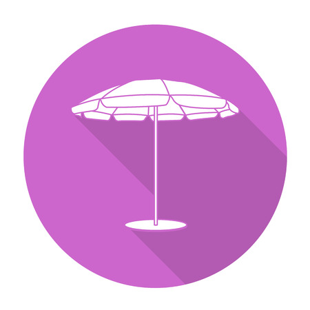 reclining: White vector beach umbrella on color circle background.