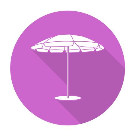 recline: White vector beach umbrella on color circle background.