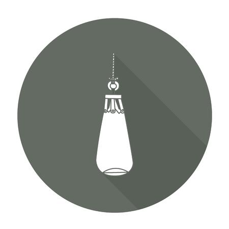sandbag: White vector sandbag on color circle background. Illustration